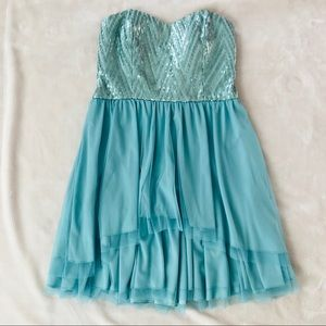 by & by Mint Strapless Short Sequin Dress Size 5